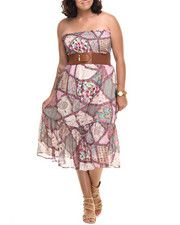 She's Cool - You'll be TRENDING in this Boho Print Belted Chiffon Smoked Tube Dress (Plus)!!