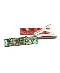 Skinny Tie clip - short tie bar - circuit board - geeky tie clip, techie tie clip