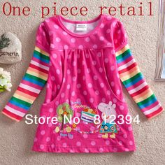 FREE SHIPPING F2178# Girls long sleeve peppa pig tunic top with embroidery one piece retail girls t-shirt