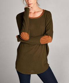 Look at this Love, Kuza Olive Ribbed Elbow-Patch High-Low Tunic on #zulily today!