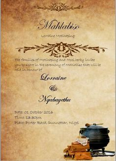 South African Traditional Wedding Invitation Card Umembeso Card Zulu Traditional Wedding
