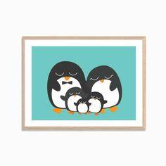 Penguin Family of Five Poster  Modern Animal by SealDesignStudio, $10.50
