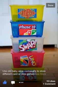 Organizing games using empty baby wipes containers instead of the closet floor like in my house. #GotItFree