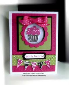 Stampin Up B'day Card w Cupcake Builder punch & stamp set, and Petite Pennant Builder punch & stamp set. Nice colors & layers, this is a good one!