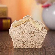luxury laser cut gold wedding favor box EWFB130