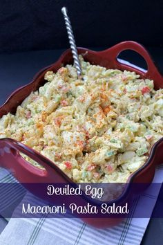 Combine your love of deviled eggs and pasta salad in this Deviled Egg Macaroni Pasta Salad Recipe. It is the perfect summer side dish!