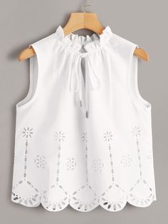 To find out about the Laser Cut Tie Neck Sleeveless Top at SHEIN, part of our latest Blouses ready to shop online today! Pop Fashion, Fashion News, Fashion Design, Fashion Advice, Girl Fashion, Cute Comfy Outfits, Lingerie Sleepwear, Blouse Designs, Blouses For Women