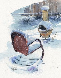 Not Today Snow Print of original watercolor by CathyJohnsonArt, $35.00