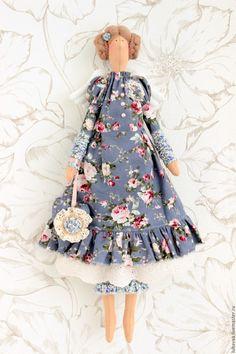 Купить Текстильная кукла Элиза. Ангел. - васильковый, кукла Тильда, тильда ангел, тильда фея