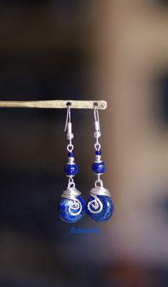 Boucles d'oreilles argent 925 lapis lazuli d'Aghanistan : Boucles d'oreille par baboochka