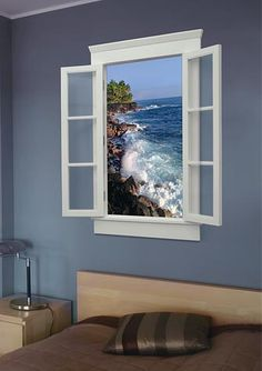 window will play hours of nature and sound to add awesomenes.- window will play hours of nature and sound to add awesomeness to any room! window will play hours of nature and sound to add awesomeness to any room! Window Mural, Room Window, Faux Window, Healthcare Design, Deco Design, My New Room, Decoration, Wall Murals, Wall Art