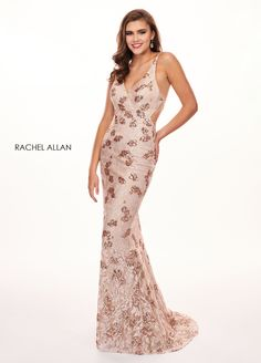 Rachel Allan - 6633 Embroidered Deep V-neck Trumpet Dress Blush Pink Prom Dresses, Nice Dresses, Formal Dresses, Formal Wear, Wedding Dresses, Trumpet Dress, Prom Dress Stores, Perfect Prom Dress
