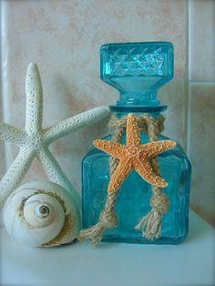 Home Decor Tiffany Blue Starfish Decorative Glass Bottle-Beach House Shabby Chic, Mother's Day Gift Ideas, Unique gifts, Hostess Gift Ideas Aqua, Turquoise, Bottles And Jars, Glass Bottles, Nautical Home, Nautical Style, Coastal Decor, Coastal Living, Nautical Fashion