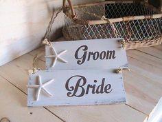 Beach Wedding Signs Bride and Groom Starfish by BeachandBungalow