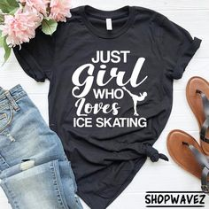 CHILDRENS I LOVE ICE SKATING HEAVY T SHIRT CRYSTAL DESIGN any size