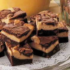 Layered Peanut Butter Brownies Recipe from Taste of Home -- shared by Margaret McNeil of Germantown, Tennessee