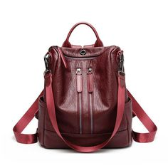 Women Solid Travel Leisure Soft Leather Multi-function Backpack Large Capacity Shoulder Bag shows femininity. Shop on NewChic and buy yourself the best women backpack. Sling Backpack Purse, Leather Backpack Purse, Shoulder Backpack, Leather Purses, Leather Bag, Soft Leather, Leather Backpacks, Anti Theft Backpack, Shoulder Bags For School