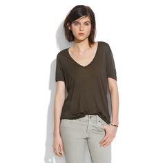 Madewell V-Neck Slouch Tee Vintage Knit- Hot item when in-store. Not available anymore. Very lightly worn. Beautiful dark olive tone. Madewell Tops Tees - Short Sleeve