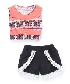 Coral Geometric Crop Top   Shorts Set - Toddler   Girls 3aff6a12e9b04