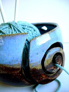 Blue Brown Wheel Thrown Yarn Bowl  MADE TO ORDER by NewMoonStudio, $32.00