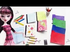 How to make doll school supplies part 1: 10 crafts in 1 pencils, notebooks, eraser, scissors, etc - YouTube