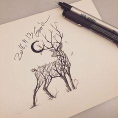Tattooist Grain (@tattoo_grain) on Instagram: 사슴나무 #deer#deertattoo#tree#treetattoo#사슴나무#사슴#사슴타투#나무#나무타투#tattoo_grain