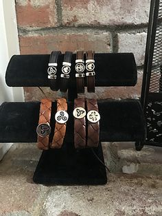 Leather, made in Ireland, Celtic and Irish symbols. Irish Symbols, Celtic Symbols, Irish Jewelry, Leather Wristbands, Claddagh, Jewerly, Ireland, Boutique, How To Make
