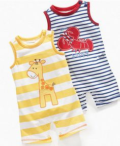 First Impressions Baby Romper, Baby Boys Sleeveless Striped Romper - Kids Baby Boy (0-24 months) - Macy's