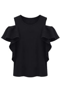 ROMWE | Black Off the Shoulder Ruffles T-Shirt, The Latest Street Fashion