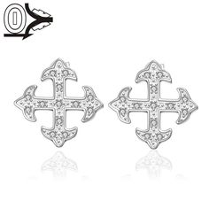 2016 New Designer Silver Plated Earring,Wedding Jewelry Accessories,Fashion Cross Zircon Silver Earrings For Women