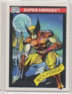 """Wolverine is part of the Marvel Comics Cards 1990 """"Super Heroes""""set. This is the original card. The Sports trading card number is Marvel Comics Cards 1990 """"Super Heroes"""". Marvel Comics Superheroes, Marvel Characters, Marvel Dc, Marvel Universe, Marvel Cards, Logan Wolverine, Wolverine Art, Nerd, Disney Cards"""