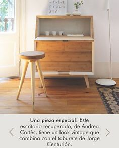 Restored drop leaf desk is given prominent place in dining/living room. Home Design Decor, House Design, Home Decor, Bedroom Workspace, Drop Down Desk, Wooden Stools, New Living Room, Interiores Design, Living Room Designs