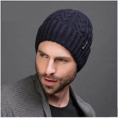 Casual cable knit hat for men warm fleece lined beanie hats winter wear e725bf3e28bc