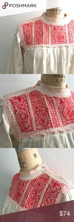 """Incredible embroidered peasant artist blouse frida Amazing vintage 30s 40s peasant artist blouse. Detailed red embroidery. Symmetrical & interchangeable front/back. This piece has been loved & worn, shows signs of wear although adds character to the piece. Please look at pics & ask any questions!                                                                    This blouse was from the home of a naval World War II couple.  Armpit to armpit 25.5""""  Shoulder to shoulder 16""""  Shoulder seam to…"""