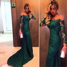 Charming Mermaid Evening Dress,Long Sleeve Lace Evening Dresses,Long