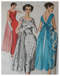 Trending evening dress patterns lovely slim evening dress pattern graceful floating back drape, figure show off sheath simplicity Evening Dress Patterns, Vintage Dress Patterns, Evening Dresses, Prom Dresses, Doll Patterns, Formal Dresses, Vintage Outfits, Vintage Gowns, 1950s Style