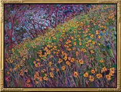 Floral impressionism oil painting done in a modern style by Erin Hanson.$7,800
