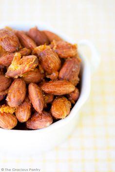 Clean Eating Recipes | Honey Lemon Almonds | Snack Recipes | Clean Eating Snacks ~ http://www.thegraciouspantry.com