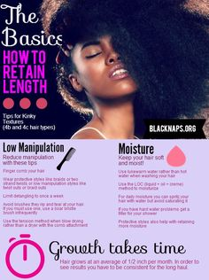 Retain length and grow for hair types 4b and 4c