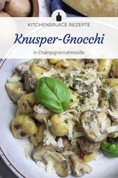 Ein einfaches und leckeres Rezept für schnelle Gnocchi in Champignonrahmsoße. Weitere Rezepte findest Du auf www.kitchensplace.de Bon Appetit, Potato Salad, Potatoes, Pasta, Chicken, Ethnic Recipes, Food, Proper Tasty, Eat Lunch