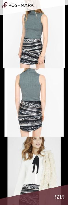 🎉HP🎉 Sequin Curved Hem Mini Skirt 🎉HP 8/31/16 Statement Style Party🎉 An icy combination of colors -- silver, gold and black -- dresses up the stripes and geo patterns of this slip-on stretchy mini. Fully lined and flattering for curves, it's ready for a night on the dance floor. Elastic waist. All-over sequin stripes. Fitted shape, full silky lining. Rounded hem, hits above the knees. Cotton/Spandex shell; Polyester lining. Express Skirts Mini