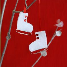 Ice skate ornaments -- easy enough for children to help with.