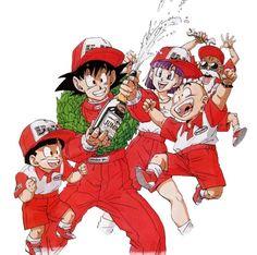 Bulma, Goku, Gohan, Krillin, and Master Roshi Dragon Ball Z, Blue Dragon, Dbz, History Of Manga, Manga Anime, Anime Art, Dragon Quest, Arte Pop, Son Goku
