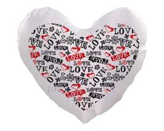 Cuscino cuore con scritte d'amore