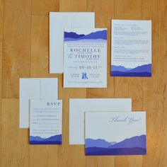 Wedding Invitations // digitally printed shades of purple // Design by Michaela Pariseau // mountains, landscape, Wyoming, lavender, silhouette, dog