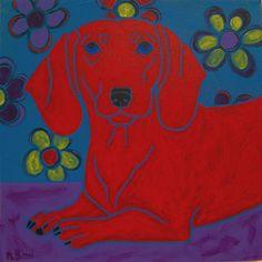 Dachshund Painting - Dachshund Art - Dog Pop Art - Modern Dog Art - by dogpopart. $130.00, via Etsy.