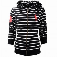 Cheap Polo Ralph Lauren Womens Big Pony Stripe Hoodie Black