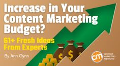 Increase in Your Content Marketing Budget? 61 Fresh Ideas From Experts Digital Marketing Strategy, Content Marketing, Social Media Marketing, Marketing Budget, Seo Strategy, Digital Technology, Effort, Budgeting, Marketing Institute