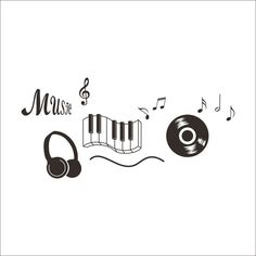 Music Earphone Organ Discs Black PVC Plane Wall Stickers ($9.85) ❤ liked on Polyvore featuring home, home decor, wall art, wall stickers, black home accessories, music themed home decor, music home decor and black home decor