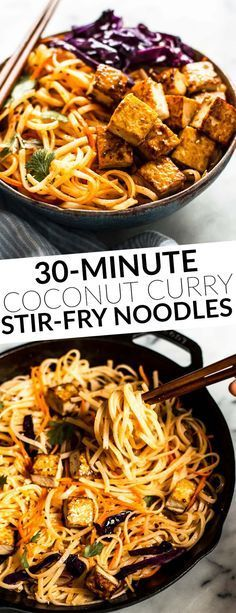 30-Minute Coconut Curry Stir Fry Noodles with Glazed Tofu - easy weeknight gluten free and vegan meal! by @healthynibs
